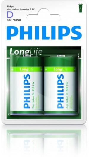 Batéria Philips Longlife D R20 / 2 ks phR20LL