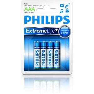 Batéria Philips ultra alkaline AAA (LR03) 1,5 V / 4 ks  phLR03EL