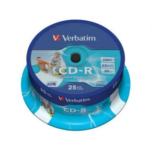 CD-R Verbatim 700MB 52x Printable 25-cake box  ve43439