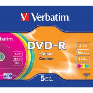 DVD-R Verbatim 4,7GB Color / 5ks slim box  ve43557