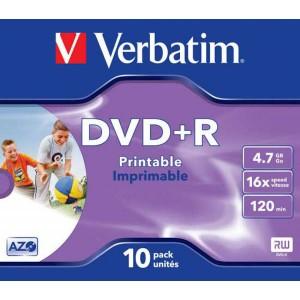 DVD+R Verbatim 4,7GB 16x Printable, jewel case  ve43508
