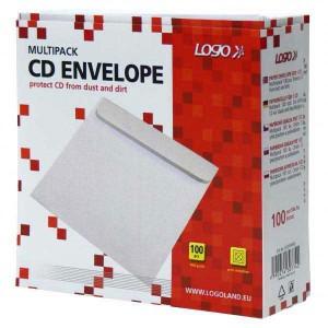 Obálka pap. na 1 ks CD, biela, Logo, 100-pack