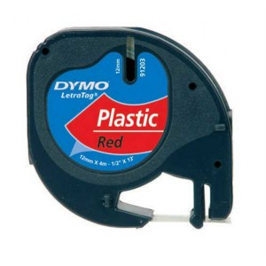 Páska do Dymo Letra Tag 12mmx4m plastová červená
