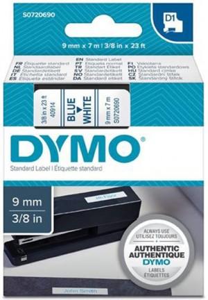 Páska DYMO do štítkovača 40914 D1 Blue On White Tape (9mm)