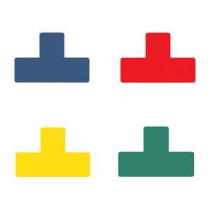 Páska PVC, Tarifold, štítok na podlahu, tvar T, 150x50mm - modrá/10ks