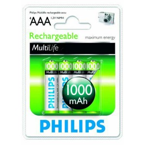 Batéria Philips AAA (R03) 1,2 V/1000 mAh NiMH / 4 ks  phR03N
