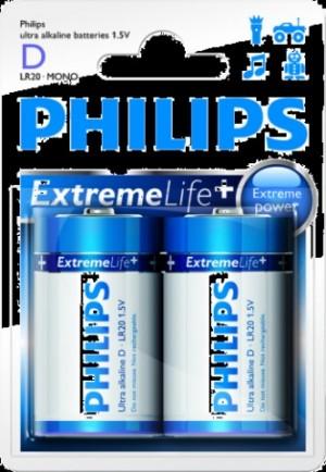 Batéria Philips ExtremeLife D (LR20) 1,5 V / 2ks  phLR20EL