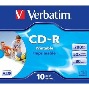CD-R Verbatim 700MB 52x Printable jewel case  ve43325