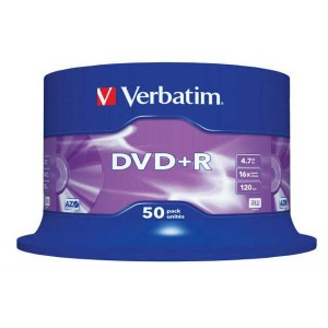 DVD+R Verbatim 4,7GB 16x Matte Silver, 50ks cake box  ve43550