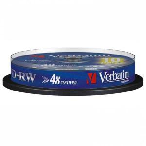 DVD+RW VERBATIM 4,7GB 4X 10ks Cake box