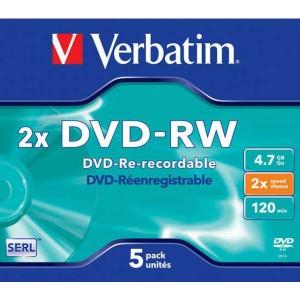 DVD-RW Verbatim 4,7GB 2x jewel case
