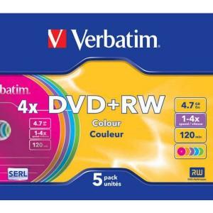 DVD+RW Verbatim 4,7GB 4x Colour slim box / 5ks
