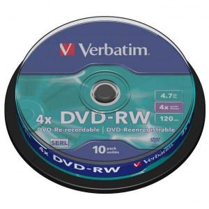 DVD-RW Verbatim 4x DataLife PLUS, 4.7GB, 12cm, cake box,10-pack