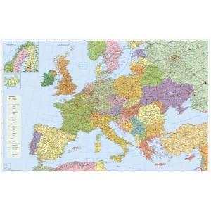 Mapa Európa - cestná sieť, 135 x 100 cm  SL47407